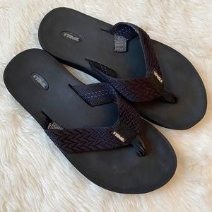 Teva Black Flip Flops Size 9 Braided Strap